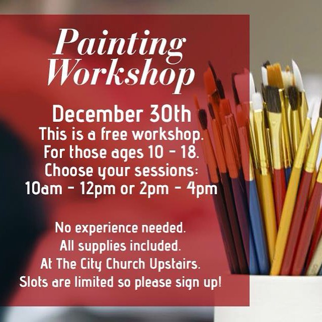 We are so excited to offer this $25 painting workshop for FREE to those ages 10-18! Make sure to contact us to sign up, classes are filling up fast! #art #artist #artsy #letspaint #painting #acrylic #workshop #artclass #artworkshop #create #wedolifetogether #merrychristmas #thecitychurchny